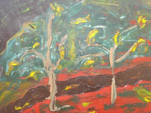 三龙的油画《十月的山核桃树》