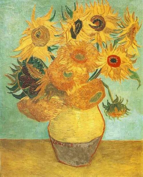 凡高油画两朵向日葵 两朵向日葵油画 凡高油画向日葵