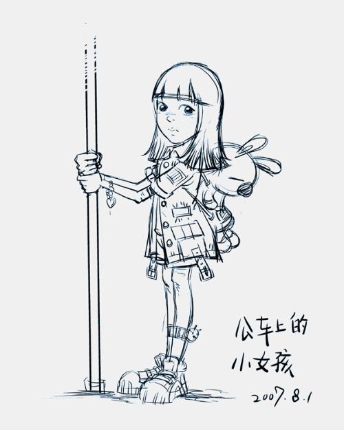 简笔画简单又漂亮的小女孩-公车上的小女孩